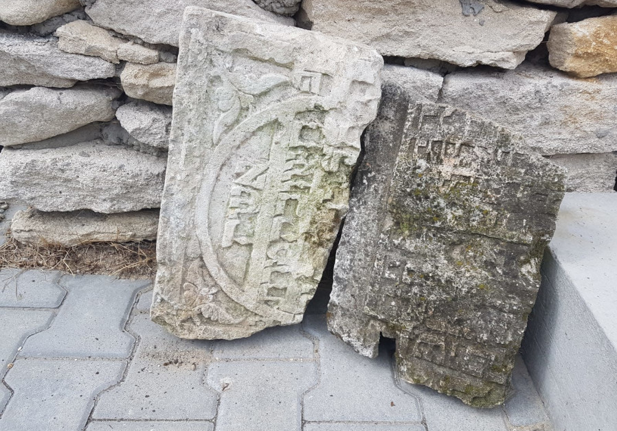Jewish gravestone fragments found in a demolished cowshed in Klępie Górne, close to Kielce.