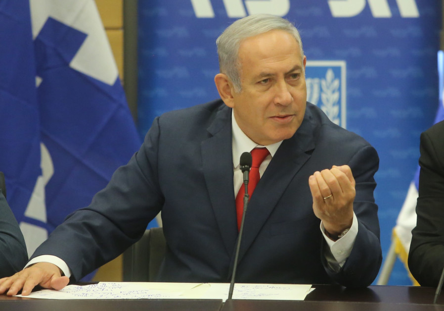 Prime Minister Benjamin Netanyahu gestures during a Likud faction meeting, July 2 2018