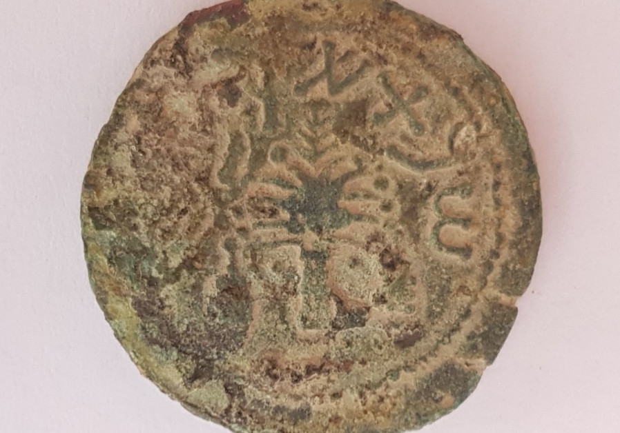 Bronze coin from 4th year of Great Revolt found at national park