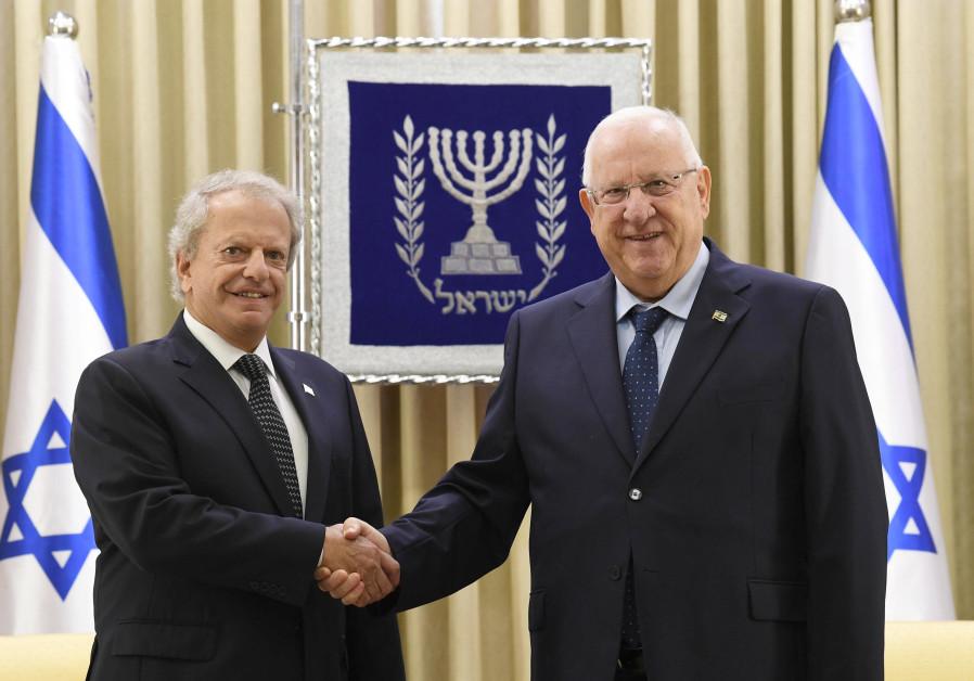 Dr. Alvin J. Schonfeld, Grenada's first ambassador to Israel and President Reuven Rivlin