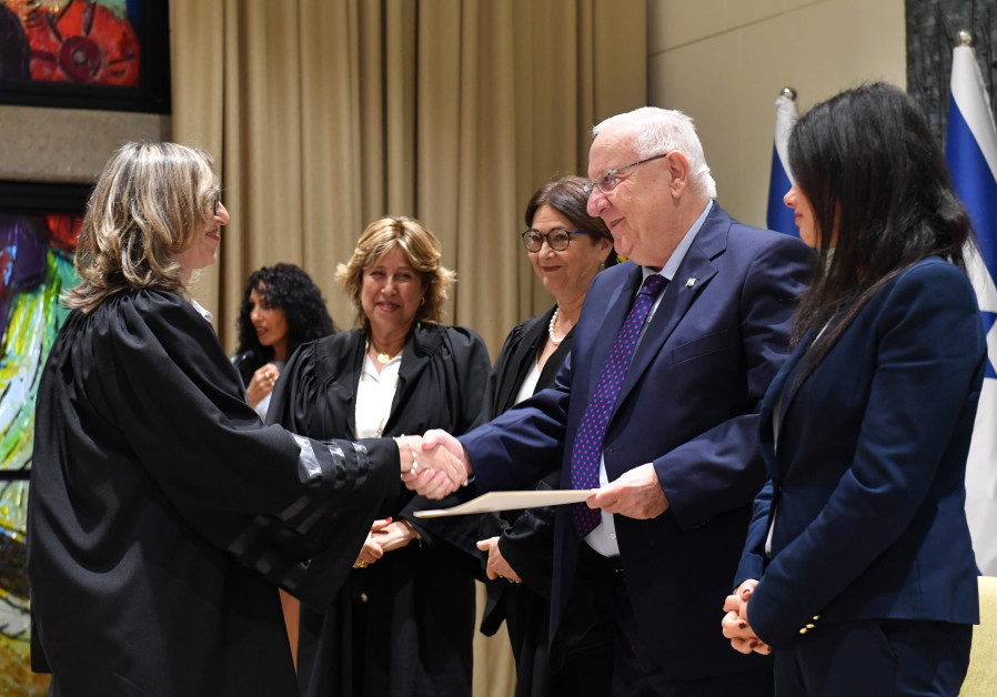 Justice Minister Ayelet Shaked, President Reuven Rivlin, and Chief Justice Esther Hayut