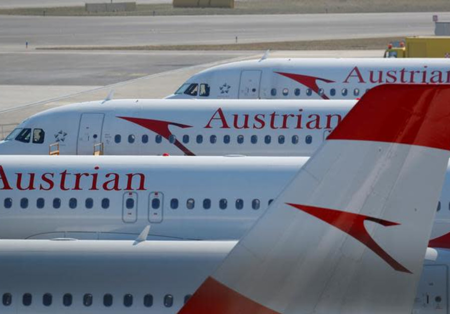 Planes of Lufthansa unit Austrian Airlines are parked at Vienna International Airport in Schwechat,