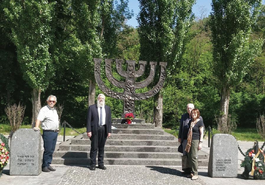 At the Babi Yaar Memorial: Shalom Norman, Rabbi Shmuel Kaminezki, Efraim and Hadassah Halevy