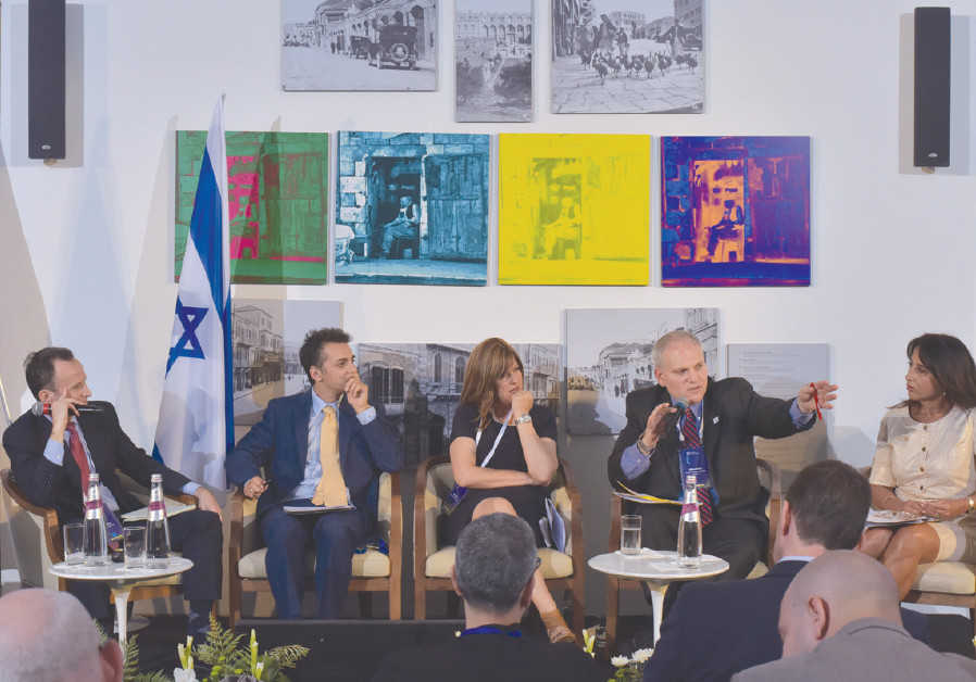 A panel discussion entitled Defending Israel's Legitimacy: The Battlefield in 2018, takes place duri
