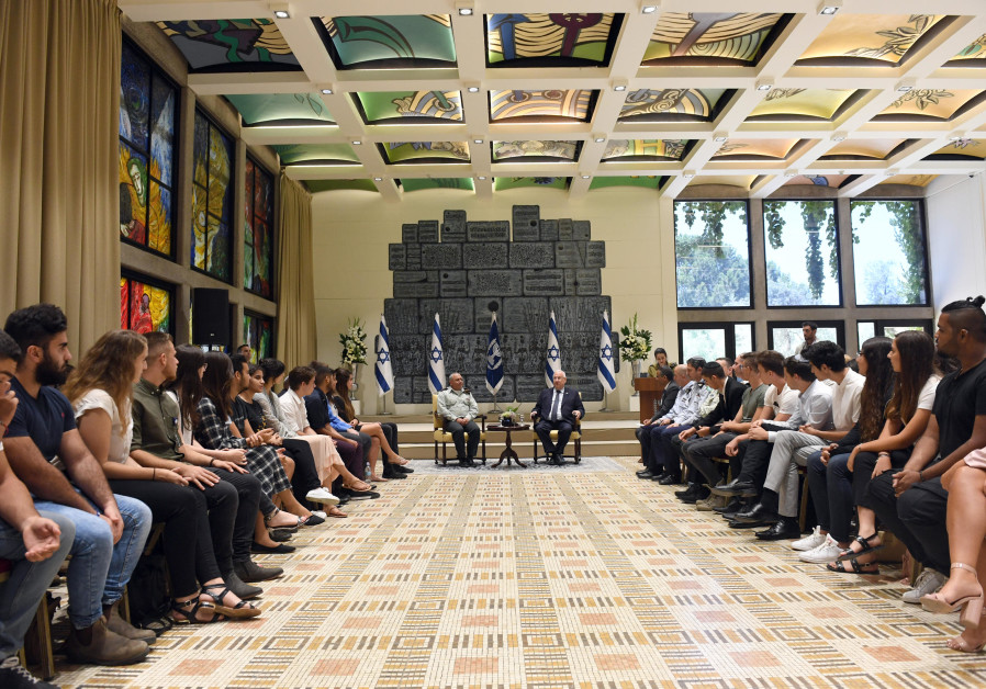 President Reuven Rivlin and Chief of Staff Lt.Gen. Gadi Eisenkot meeting with 70 influential teenage