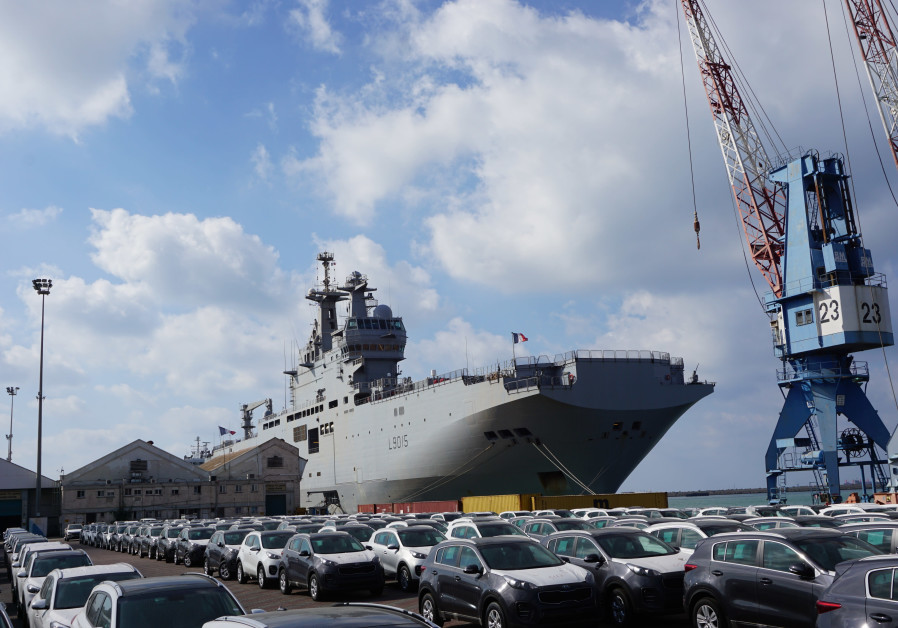 A French warship Dixmude at Haifa port returning from five months at sea in the Far East