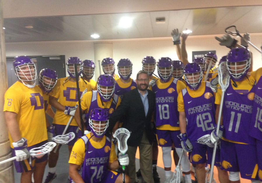 Former MK Dov Lipman poses with the Iroquois Nationals Lacrosse Team at the World Lacrosse Champions