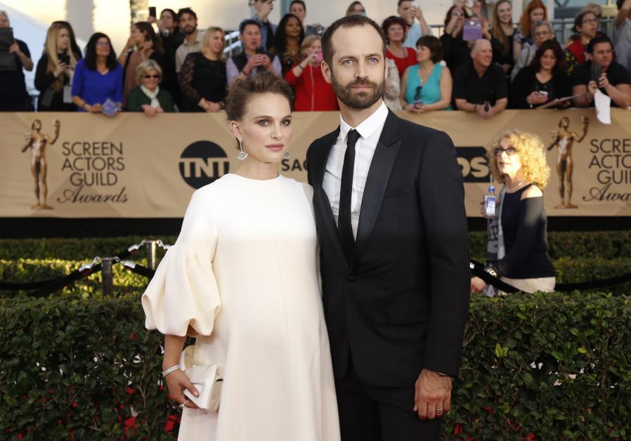 Actress Natalie Portman and husband Benjamin Millepied arrive at the 23rd Screen Actors Guild Awards