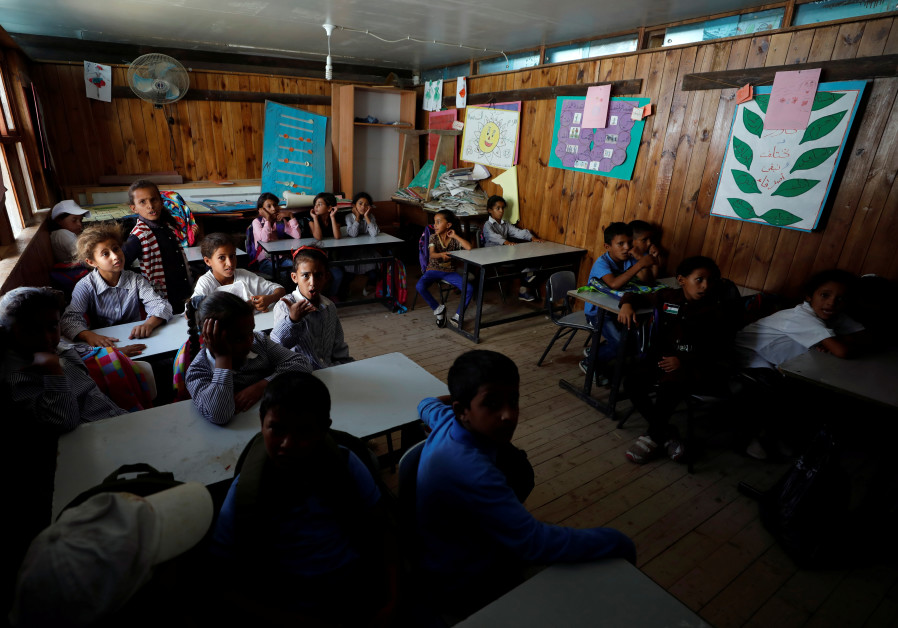 Palestinian children attend class at school that began in 2018 in Khan al-Ahmar that will be demolis