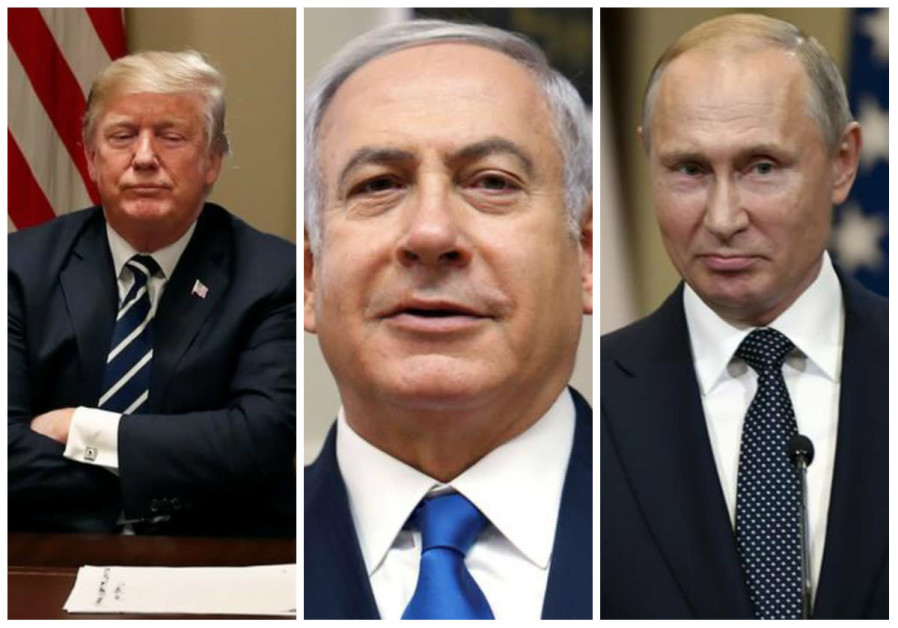 Trump (L), Netanyahu (C) and Putin (R)