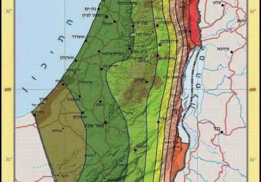 Map of Israeli marks out higher and lower risk areas in face of an earthquake