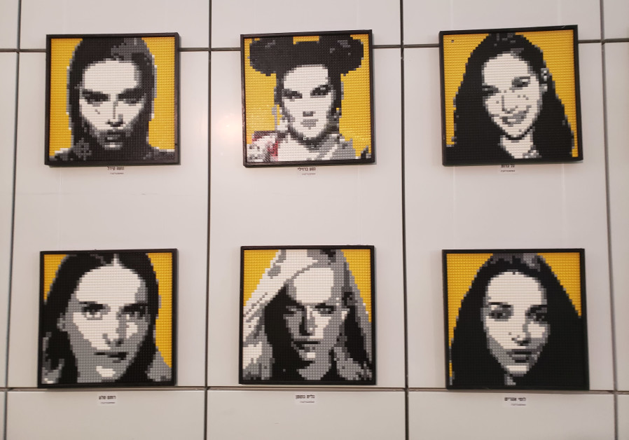 Mosaics of famous Israeli women made out of Lego, on display at the event