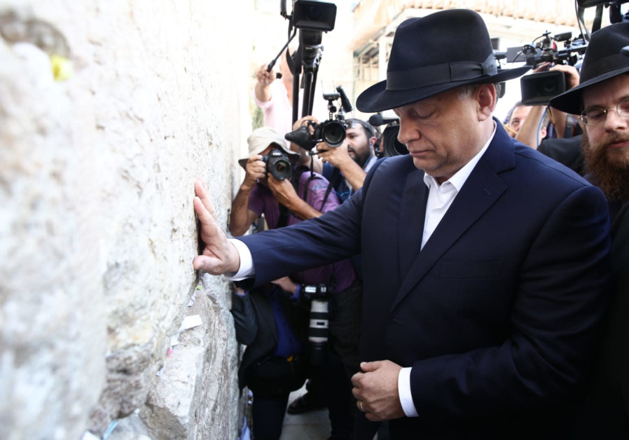 Hungarian Prime Minister Viktor Orban visits the Western Wall as part of his trip to Israel