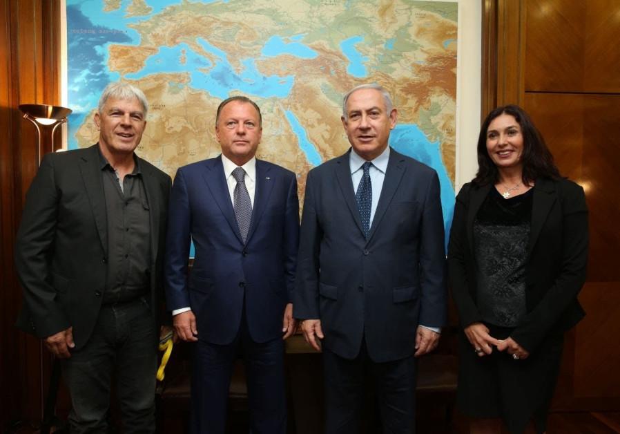 Prime Minister Benjamin Netanyahu and Culture Minister Miri Regev meets with Internation Judo Federa