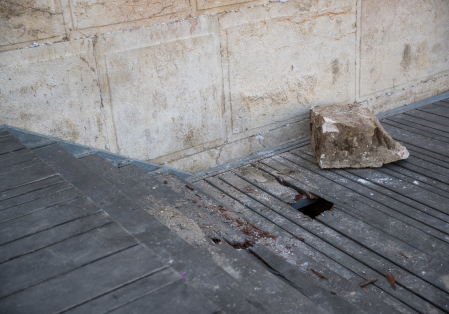 WATCH: Stone falls out of Western Wall above egalitarian prayer
