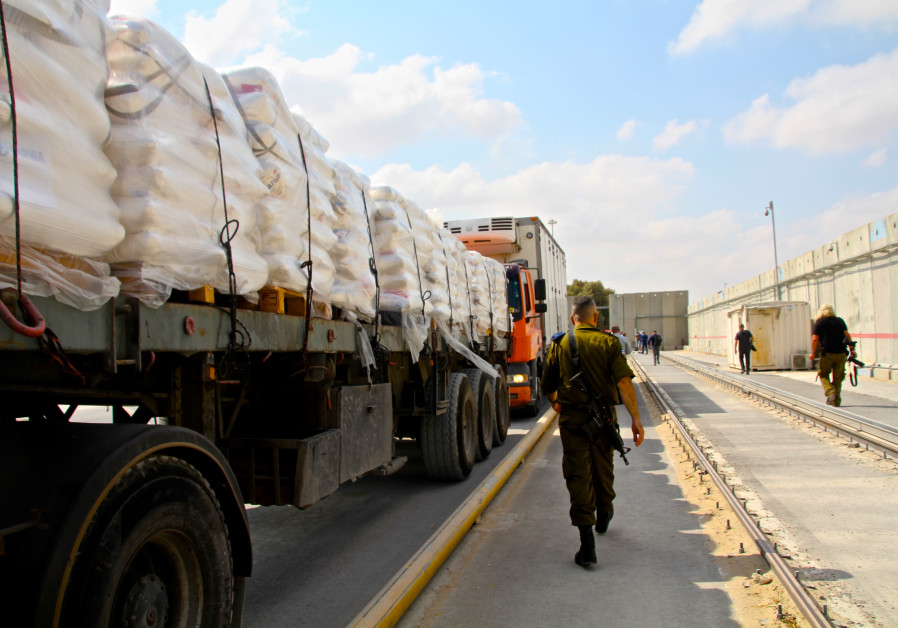 Humanitarian goods are transfered via the Kerem HaShalom crossing from Israel into Gaza.