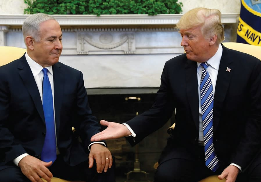 PRIME MINISTER Benjamin Netanyahu meets with US president Donald Trump in the Oval Office of the Whi