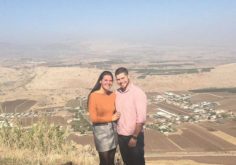 Stephanie Nelson with her husband, Erez Cramer, pictured at Kibbutz Lavi after their engagement