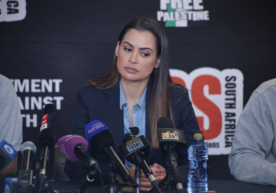 South African celebrity Shashi Naidoo speaks during a BDS press conference in Johannesburg last mont