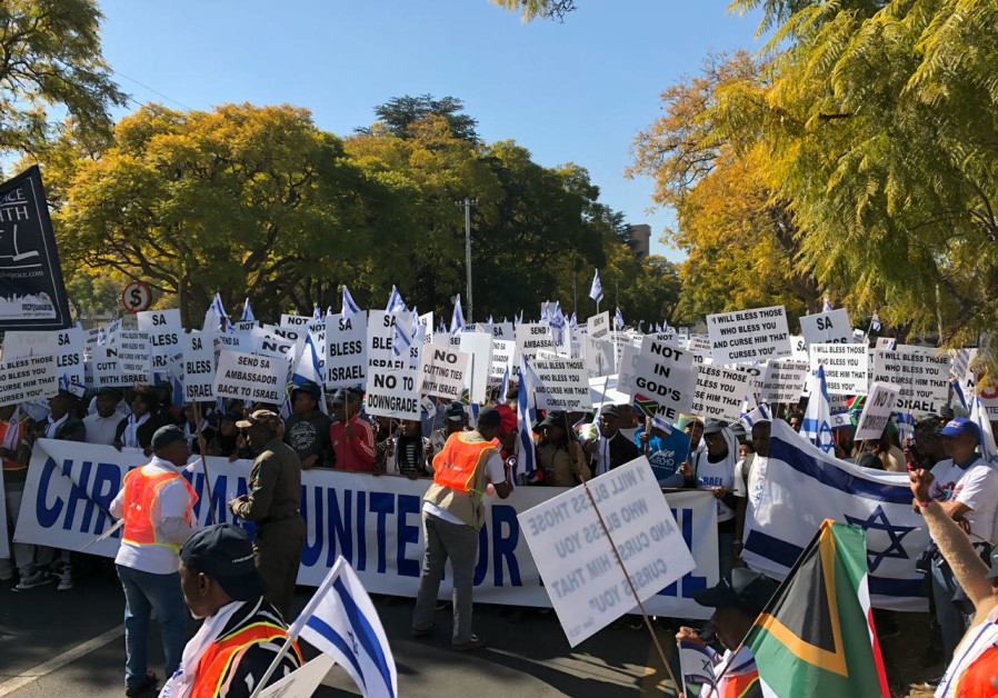 SOUTH AFRICA'S Christian population demonstrate against downgrading the country's embassy in Tel Avi