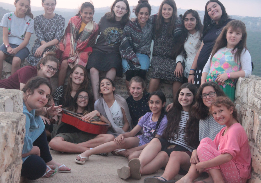 A group of campers spending time at the lookout in Yechiam, July 26, 2018.