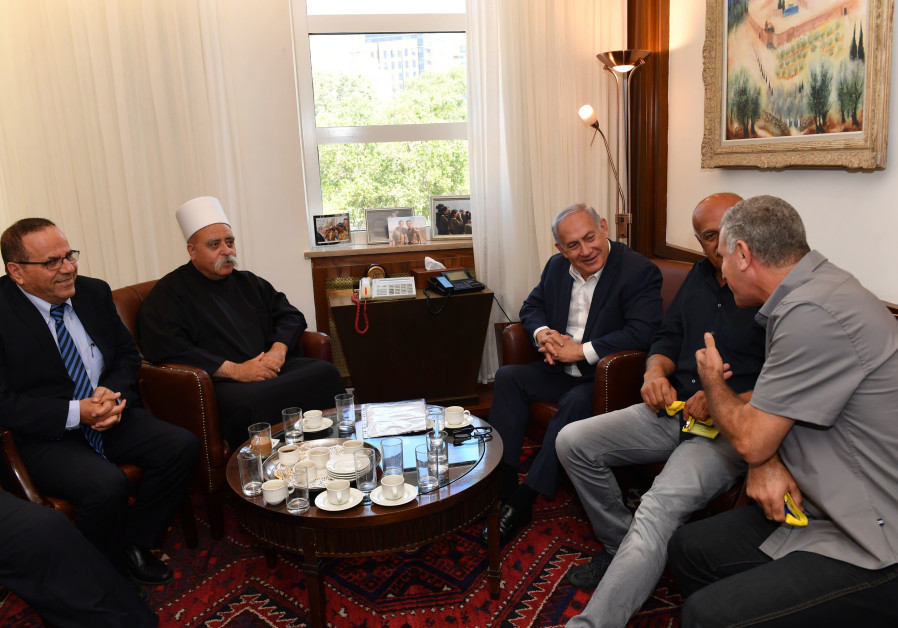 Prime Minister Benjamin Netanyahu meets leaders of the Druze community