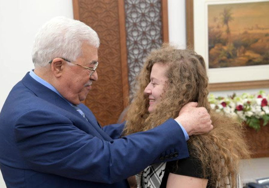 Palestinian President Mahmoud Abbas meets with freed Palestinian teenager Ahed Tamimi