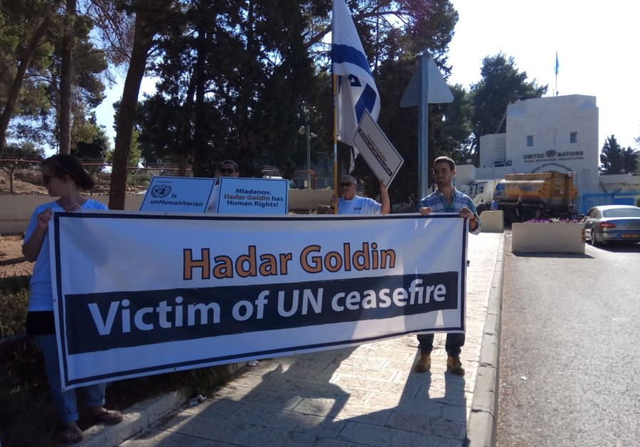 """Misdar Hadar"" and the Goldin family protest the UN's inaction on return of Hadar Goldin's remains"