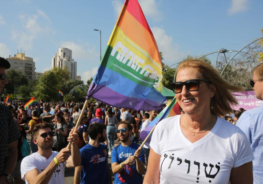 MK Tzipi Livni at Jerusalem pride parade, 2 August 2018.