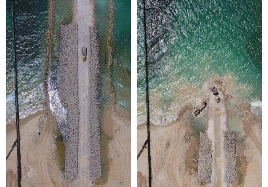 A before (R) and after (L) of the sea barrier built by Israel, released August 5, 2018