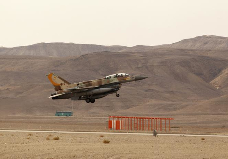 An Israeli F-16 fighter jet takes off from Ovda airbase