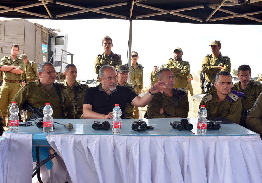 Defense Minister Avigdor Liberman visits troops in the Golan Heights
