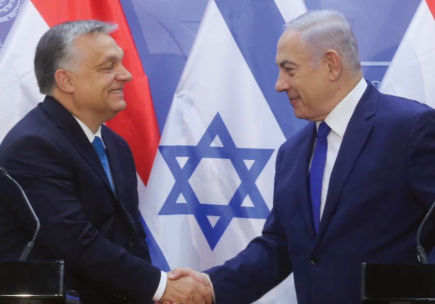 Hungarian Prime Minister Viktor Orban is welcomed to Jerusalem by Prime Minister Benjamin Netanyahu