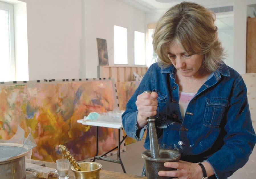 Beverly Barkat at work in her studio