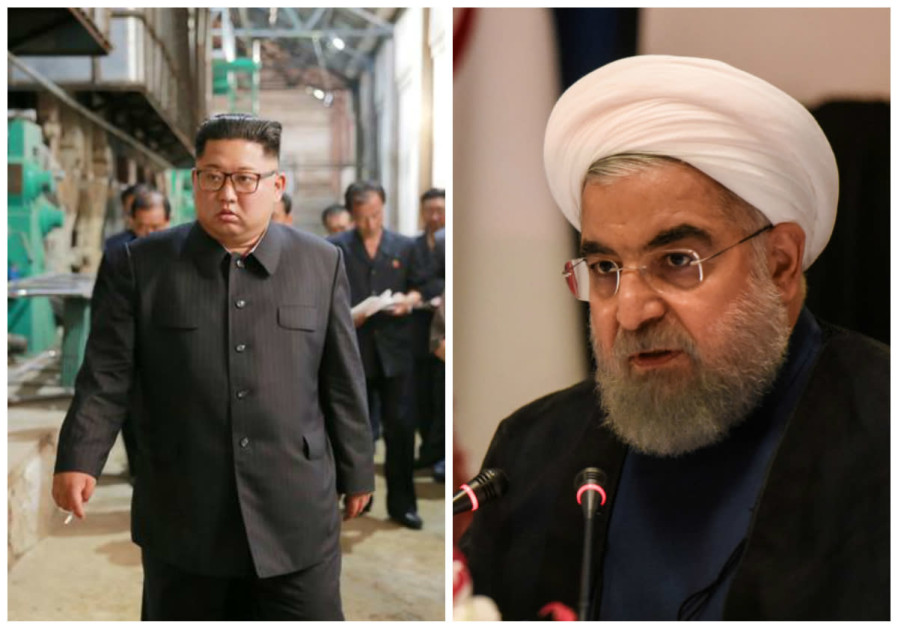 North Korean leader Kim Jong Un (L) and Iranian President Hassan Rouhani (R)