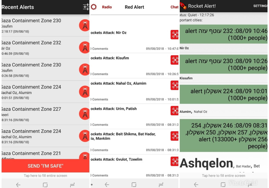Screenshot of available smartphone applications for updates on siren alerts, August 9 2018.
