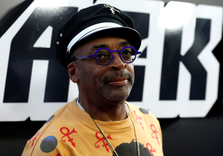 "Director Spike Lee poses at the premiere for ""BlacKkKlansman"" in California.(August 8, 2018)."