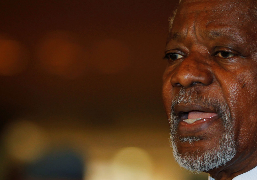 Kofi Annan delivers a statement upon his arrival at Damascus May 28, 2012.