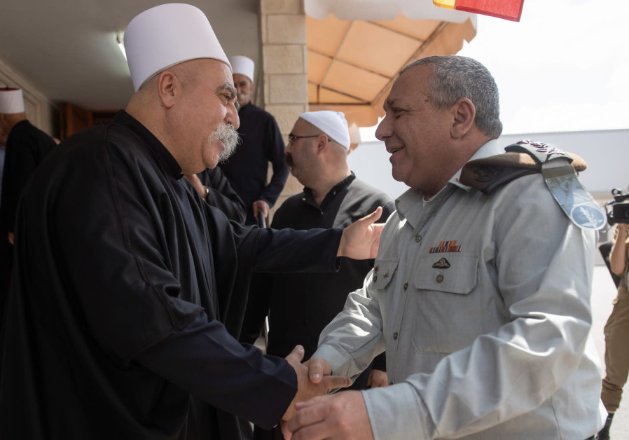 IDF Chief of Staff Lt.-Gen.Gadi Eisenkot and Druze spiritual leader Sheikh Moafaq Tarif, August 18 2