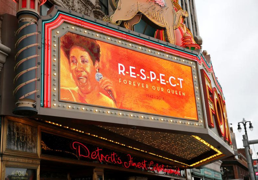 """The marquee on the Fox Theater shows the word """"Respect' in memory of singer Aretha Franklin"""