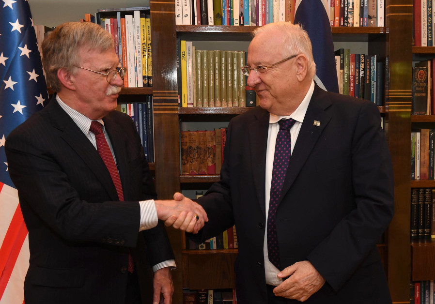Bolton gets especially warm welcome at meeting with President Rivlin