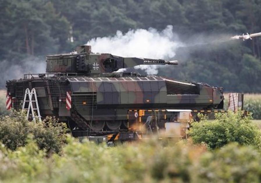 Lance turret firing SPIKE LR Missle