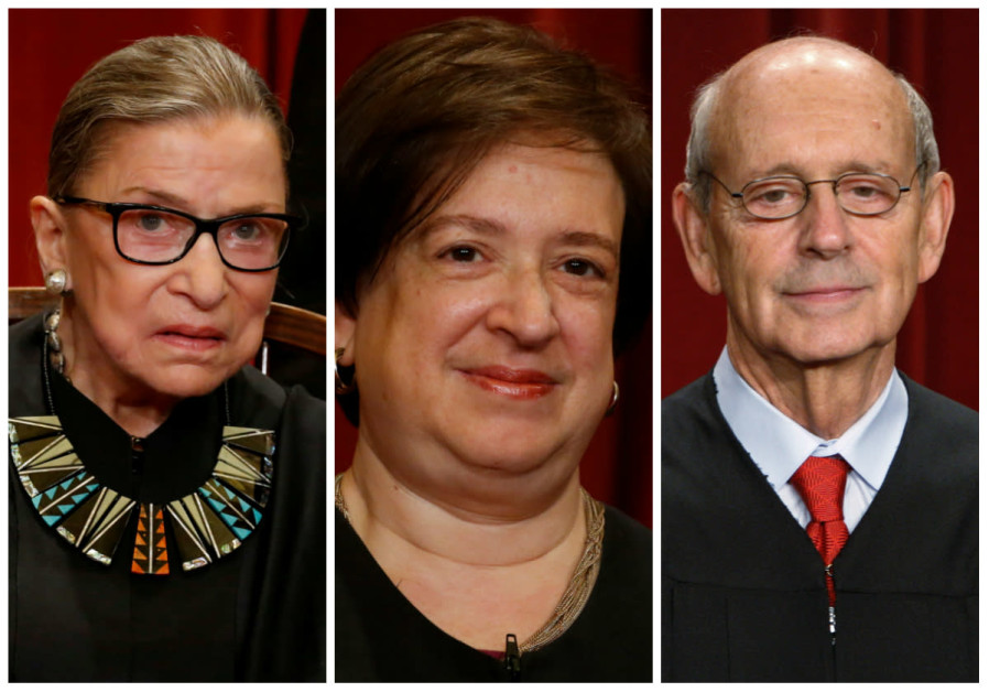 From left to right: Ruth Bader Ginsberg, Elana Kagan and Stephen Breyer