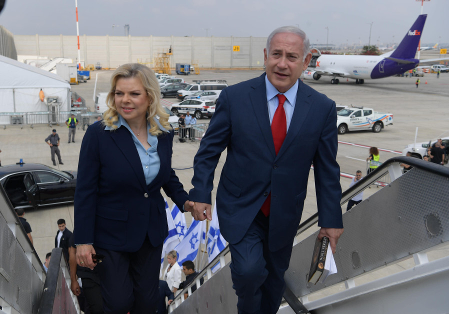Prime Minister Benjamin Netanyahu and his wife Sarah take off from Ben-Gurion Airport to Lithuania