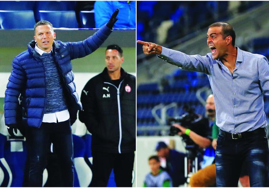 HAPOEL BEERSHEBA coach Barak Bachar (left) and Beitar Jerusalem's Guy Luzon (right)