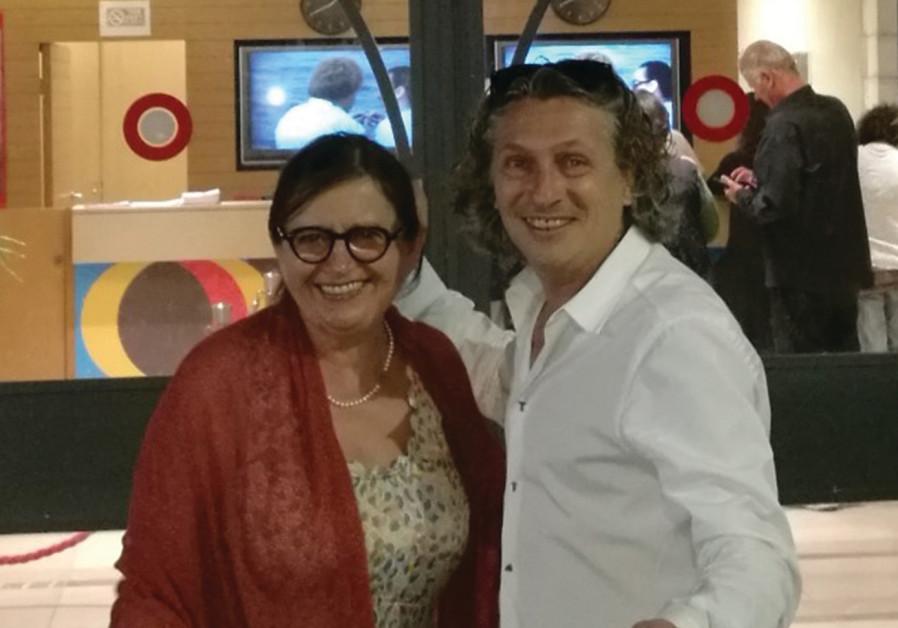 Actress Zuzana Kronerova and Robert Mikolas, director of the Czech Center Tel Aviv, at the entrance
