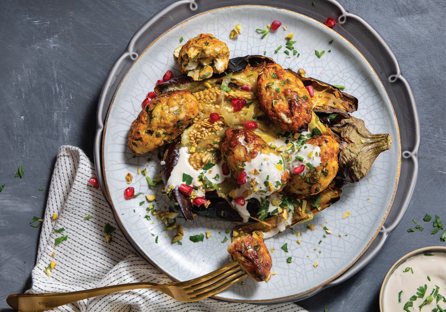 FISH CAKES WITH ROASTED EGGPLANT, TEHINA AND PISTACHIOS