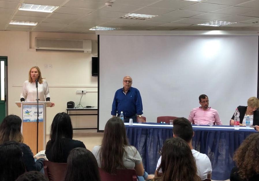 Opposition leader Tzipi Livni speaks to Druze students at a school in Daliat Al-Carmel