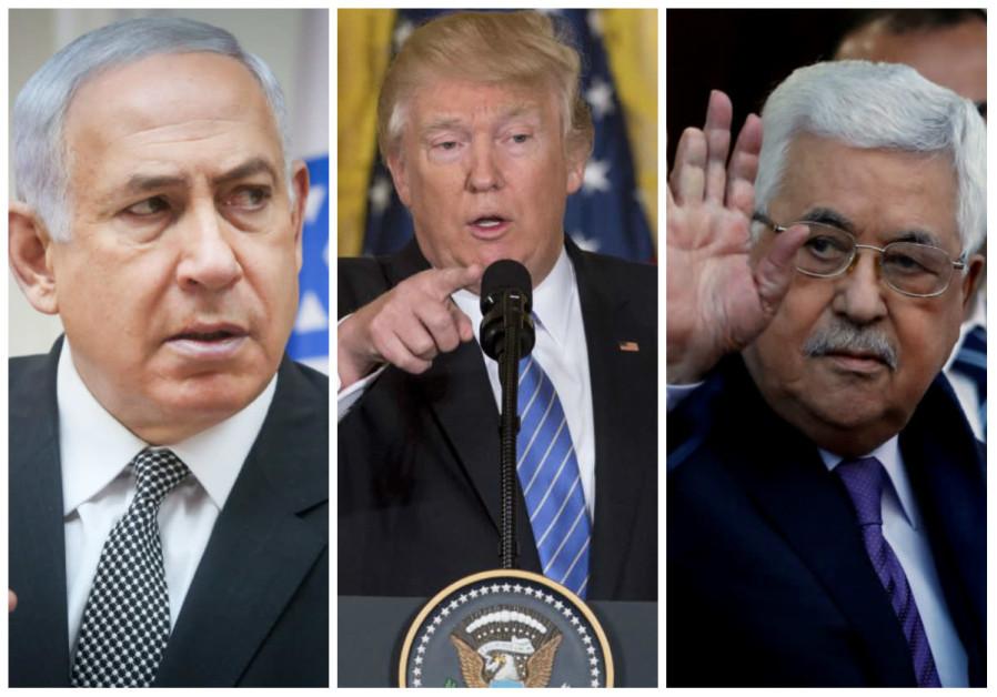 Benjamin Netanyahu (L), Donald Trump (C) and Mahmoud Abbas (R). (photo credit: REUTERS)