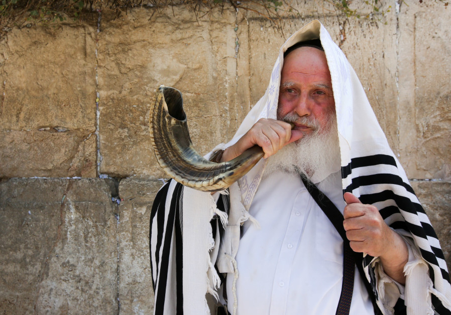 Man with shofar at Western Wall, September 4, 2018